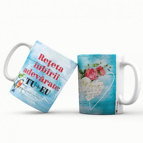 Cana cu mesaj Reteta iubirii adevarate, ES5530-197, ceramica, 330 ml