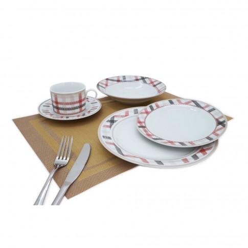 Set farfurii D3858, portelan, alb + rosu + negru, 30 piese