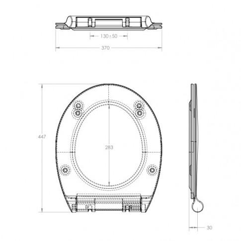 Capac WC din duroplast, Eurociere Java 1108F, alb, inchidere lenta, 370 x 447 mm