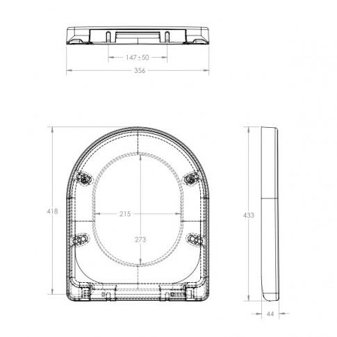 Capac WC din duroplast, Eurociere Malaga 1108G, alb, soft close, 356 x 433 mm