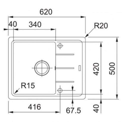 Chiuveta bucatarie compozit fragranite Franke BFG 611-62 avena bej cuva stanga / dreapta 62 x 50 cm + baterie Novara Plus bej