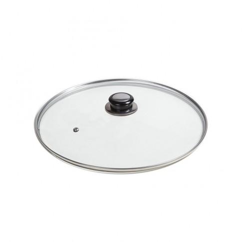 Capac rotund, sticla temperata, Studio Casa, cu maner inox, D 30 cm