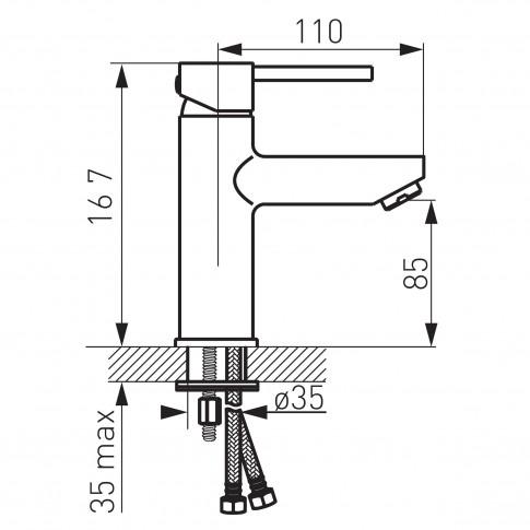 Baterie baie pentru lavoar, Ferro Linus BLX2 + ventil, montaj stativ, monocomanda, finisaj cromat