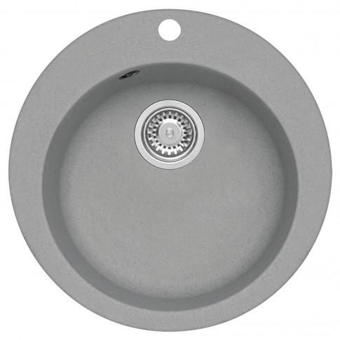 Chiuveta bucatarie compozit granit Alveus Victoria 10 G81 gri rotunda diametru de 51 cm + baterie Kati G81 gri