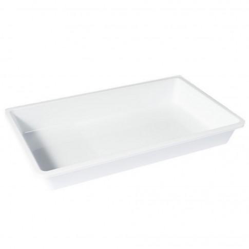 Tava dreptunghiulara pentru servire, din plastic, Plastina, alba, 40 x 25 x 7.2 cm