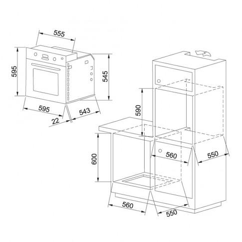 Cuptor electric incorporabil Franke GN 86 M NT CR, clasa A, 60 litri, 8 functii, grill, pizza, ventilator, 2250 W, crem