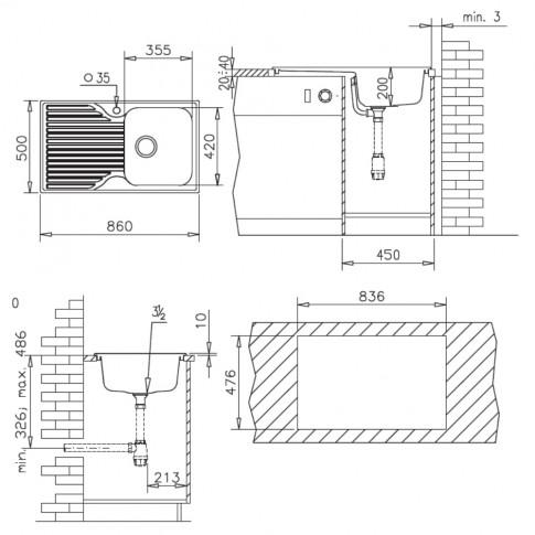 Chiuveta bucatarie compozit SMC Pyramis Pyradur neagra cuva pe stanga 86 x 50 cm + baterie