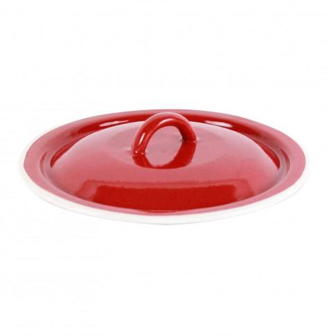 Capac rotund, bombat, din tabla emailata, rosu, 16 cm