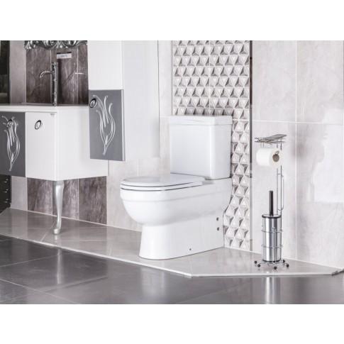 Suport stativ pentru hartie igienica, perie WC inclusa, MG096, fara clapeta, finisaj cromat, 19 x 19 x 68 cm