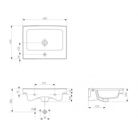 Lavoar Cersanit Crea K114-006, alb, dreptunghiular, ceramica, 60 cm