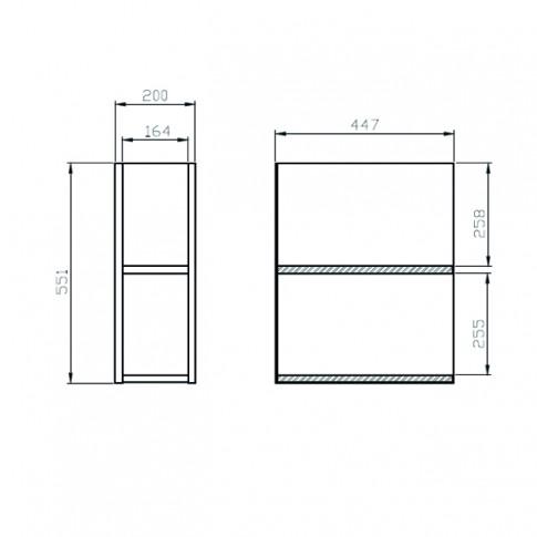 Mobilier baie baza, Cersanit, Moduo K116-020, stejar, 20 x 55.1 x 44.7 cm