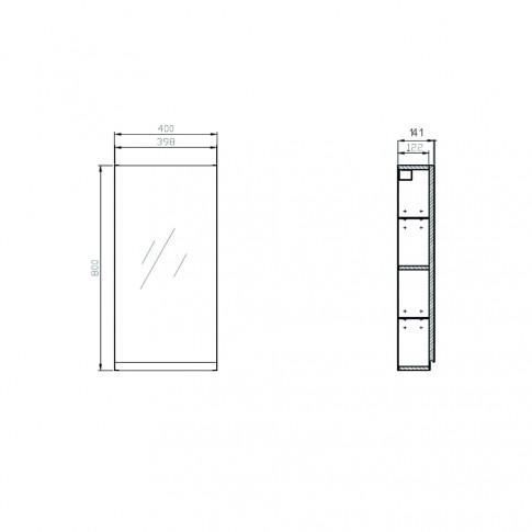 Dulap baie cu oglinda, 1 usa, Cersanit Moduo S590 - 031, gri, 40 x 80 x 14.1 cm