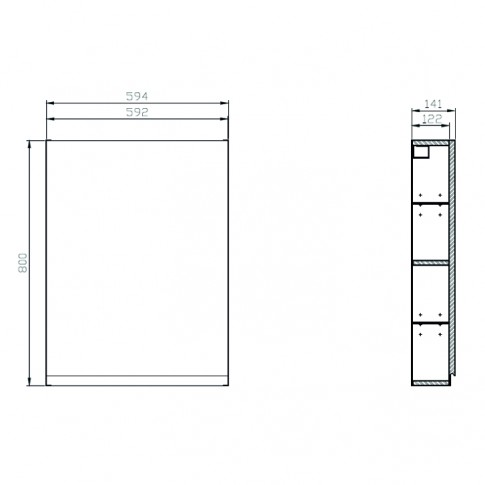 Dulap baie suspendat, Cersanit Moduo S929 - 015, 1 usa, gri, 59.2 x 80 x 14.1 cm