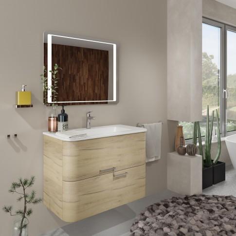 Masca baie pentru lavoar, Savini Due Geos 80 2100/F40, cu sertare, stejar auriu, suspendat, 80 x 46 x 56 cm