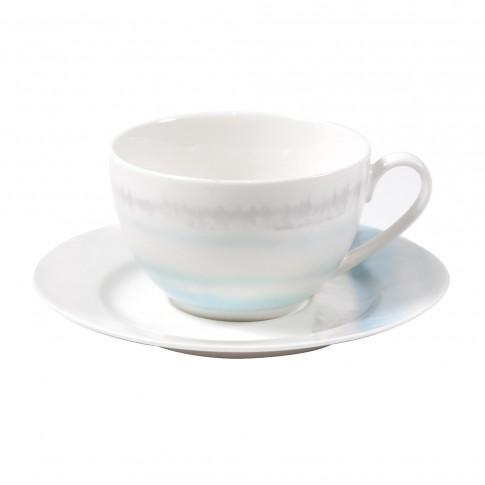 Ceasca si farfurioara SHZ9461, set 12 piese, portelan, alb + bleu, 220 ml