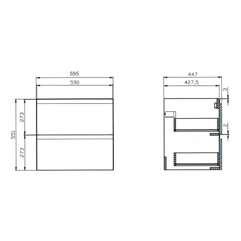 Masca baie pentru lavoar, Cersanit Moduo K116-022, cu sertare, gri, 59.5 x 44.7 x 55.1 cm