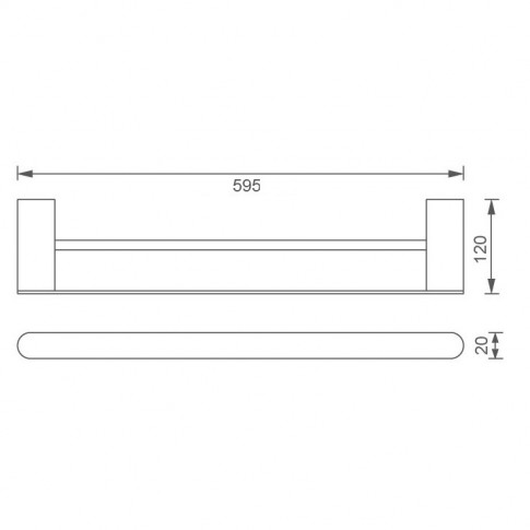 Suport prosop baie, Ferro Naty B66625.0, tip bara, 59.5 x 12 x 2 cm