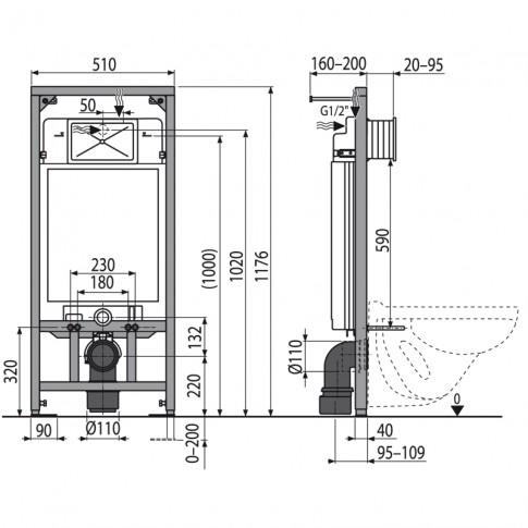 Rezervor apa, incastrat, Kadda, 9 L, 51 x 117.6 cm, placa actionare si izolatie incluse