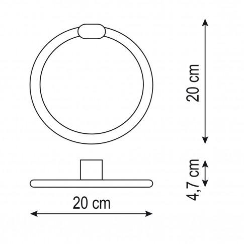 Suport prosop baie Marlyn AR1708WH, tip inel, 20 x 20 x 4.7 cm