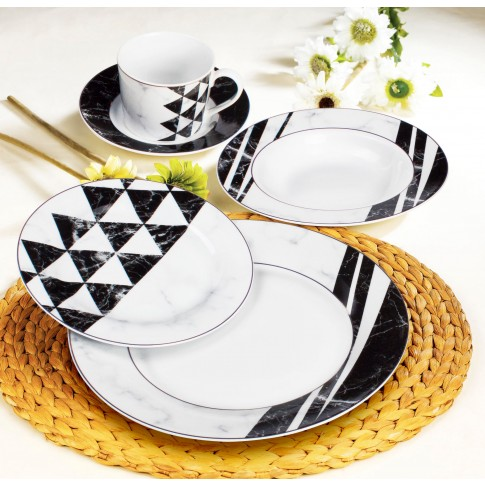Set farfurii GX5, portelan, alb + negru + gri, 30 piese