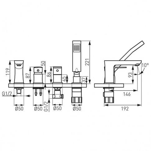 Baterie baie pentru cada / dus, Ferro Platto BPL11A, montaj stativ, monocomanda, finisaj cromat
