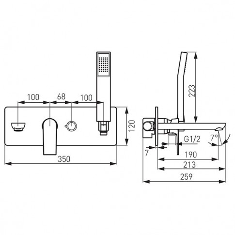 Baterie baie incastrata pentru cada / dus, Ferro Platto BPL11P, montaj incastrat, monocomanda, finisaj cromat