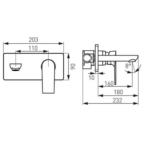 Baterie baie pentru lavoar, Ferro Platto, pipa 18 cm, monocomanda, finisaj cromat