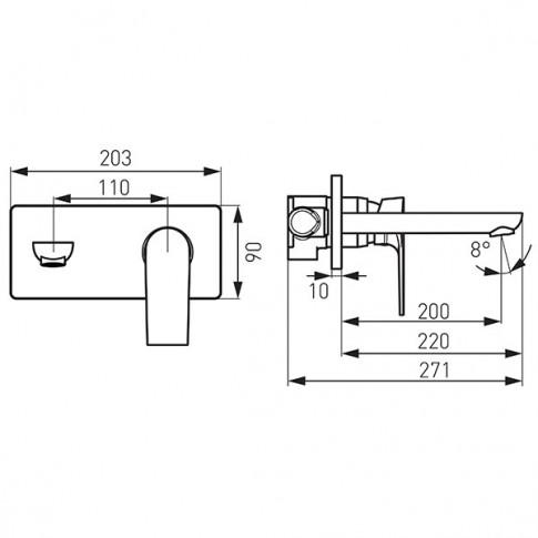 Baterie baie pentru lavoar, Ferro Platto, pipa 22 cm, monocomanda, finisaj cromat