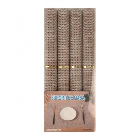 Set suport de masa, pentru bucatarie, NX-4402, PVC + PET, bej, 30 x 45 cm, 4 piese