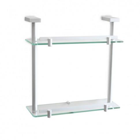 Etajera pentru baie din sticla, Ice 6061400, cu doua rafturi, 35 x 35 x 12.5 cm