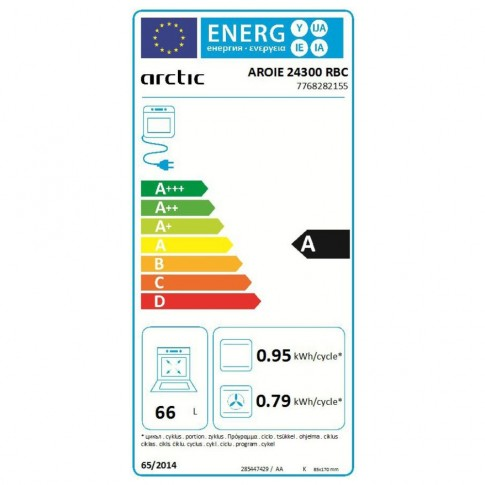 Cuptor electric incorporabil Arctic AROIE24300RBC, clasa A, 66 litri, 7 functii, grill, ventilator, timer, curatare catalitica Self Clean, negru
