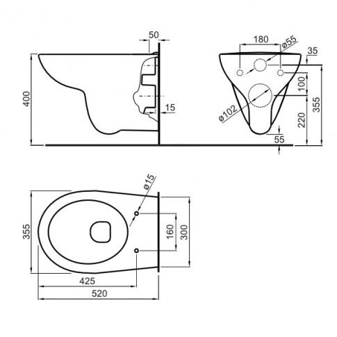 Pachet rezervor apa, incastrat, Roca Adele A893104230, 54.7 x 112.5 cm