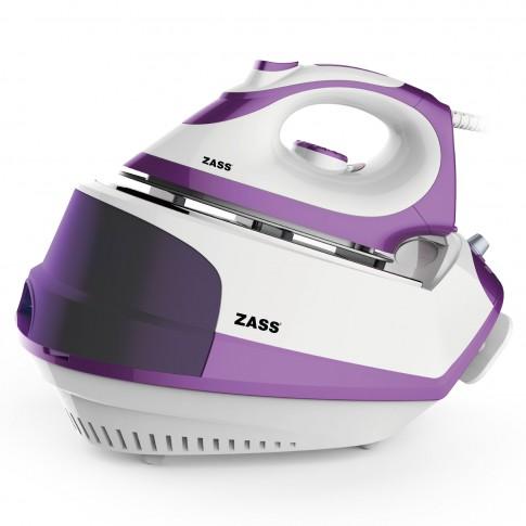 Statie de calcat Zass SG 03, 2300 W, 1.2 l, 110 g/min, talpa ceramica, jet de abur, presiune 4.5 bari, sistem anti-calcar, functie abur continuu, alb + mov