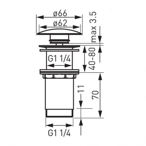 "Ventil click - clack pentru lavoar, Ferro S285-WBP, 1""1/4"