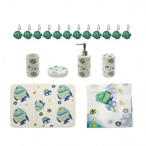 Set accesorii pentru baie, Kadda SWBS-287, model pesti, 18 piese