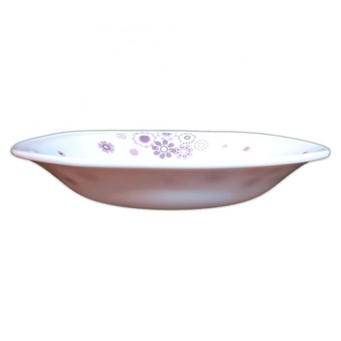 Farfurie adanca DEC10, sticla opal, alb + roz, 20.3 cm