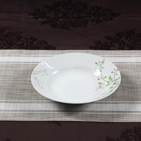 Farfurie adanca D3823, portelan, alb + model floral multicolor, 20 cm