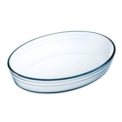 Vas oval 345BN, fara capac, sticla termorezistenta, transparenta, 30 x 21 x 6 cm