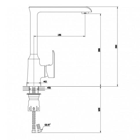 Baterie bucatarie MY1805-42CW, alama, finisaj alb