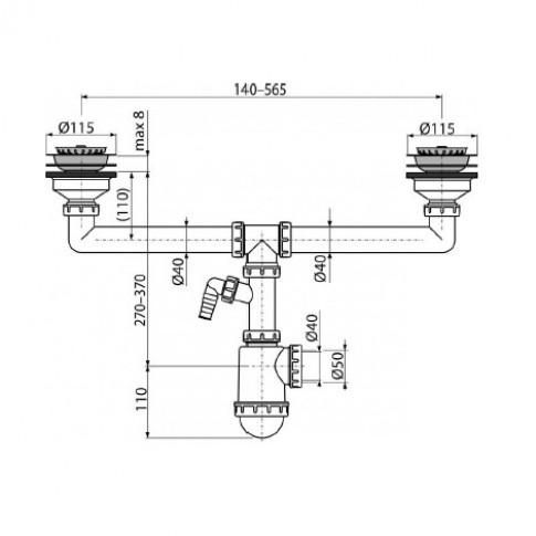 Sifon Komfort C453P, pentru chiuveta cu 2 cuve, racord masina de spalat, plastic
