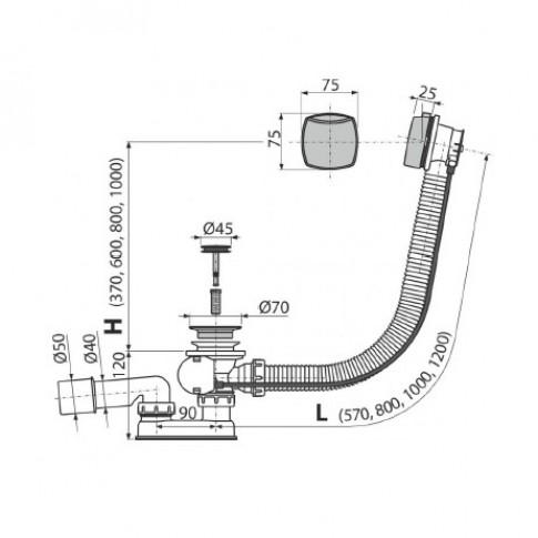 Sifon cada, cu preaplin si ventil pop - up, Komfort C553K, cromat