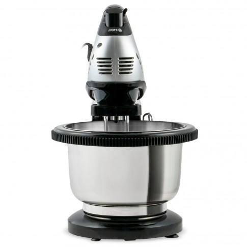 Mixer de mana Zass ZHM 05BS, cu bol rotativ inox de 3 l, 200 W, 5 trepte de viteza, functie turbo, argintiu + negru, carlige framantare + palete amestecare