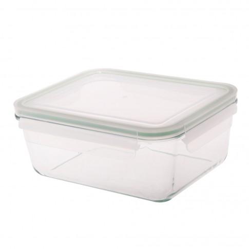 Caserola depozitare alimente, cu capac etans, AL1730RC, sticla transparenta, 21.7 x 17 x 9.5 cm