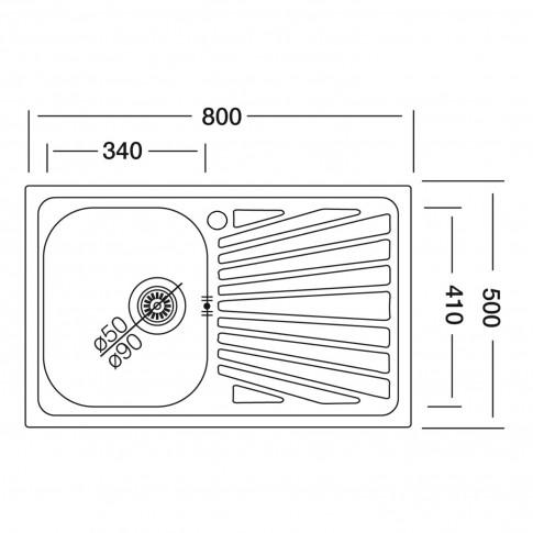 Chiuveta bucatarie inox anticalcar Doruq 1680D cuva pe dreapta 50 x 80 cm