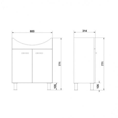 Masca baie + lavoar Cersanit Alpina RR801-017, cu usi, alb, 65.5 x 81.6 x 44.5 cm