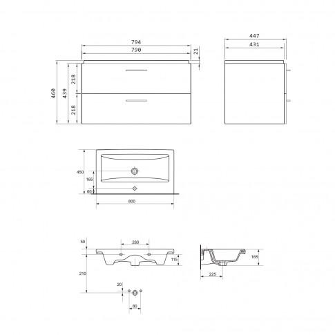 Masca baie + lavoar, Cersanit Lara Como RR801-002, cu sertare, gri, 80 x 49 x 45 cm