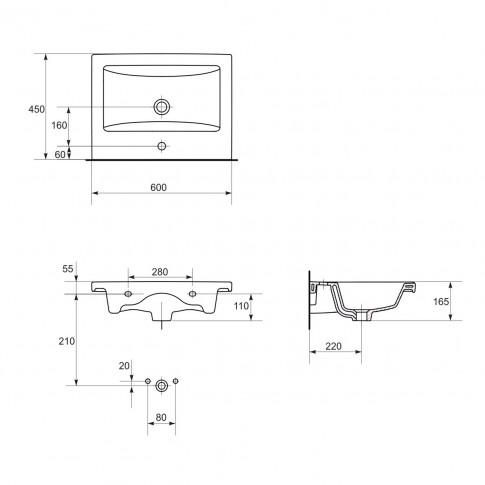 Masca baie + lavoar, Cersanit Lara Como S801-147, cu sertare, alb, 60 x 45 x 49.5 cm