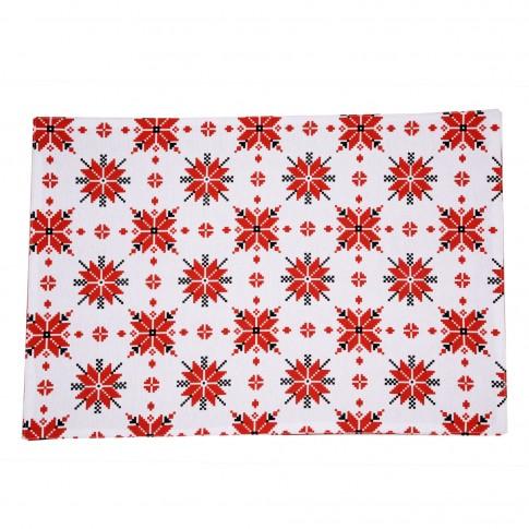 Suport de masa, pentru bucatarie, N-9052, bumbac, rosu, 48 x 33 cm