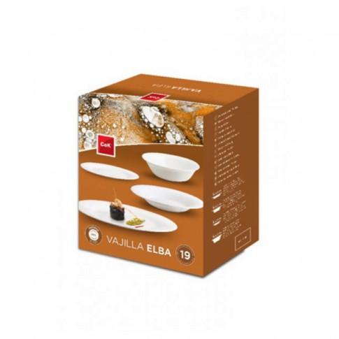 Set farfurii Cegeco Elba 4049148, sticla opal, alb, 19 piese
