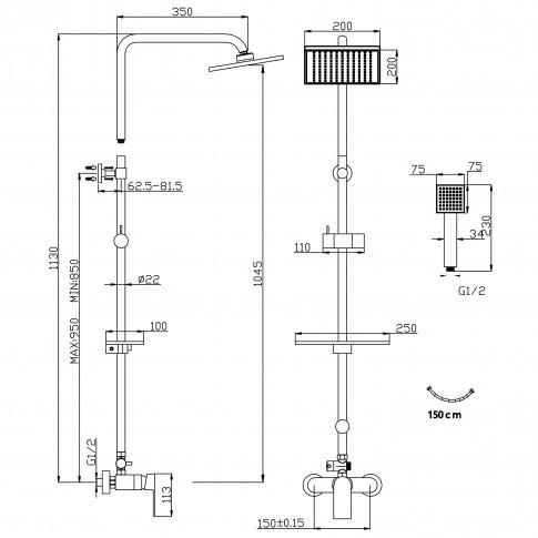 Sistem de dus Ferro Platto 2 in 1 NP74-BPL7U